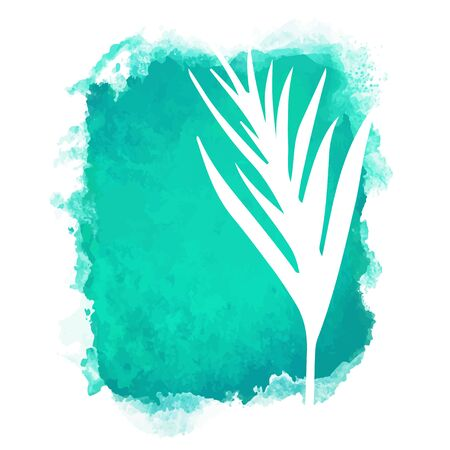Vector watercolor green rectangle paint stain with splash and hand drawn palm branch with leaves closeup white silhouette. Painted frame design. Bright colors. Abstract art Illustration