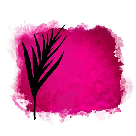 Vector watercolor red rectangle paint stain with splash and hand drawn palm branch with leaves closeup black silhouette. Painted frame design. Bright colors. Abstract art