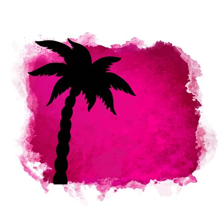 Watercolor square paint stain and coconut palm tree closeup black silhouette. Nature icon isolated on white background. Abstract art.