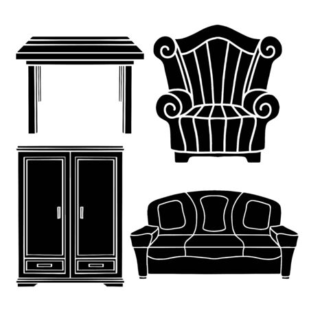 Vintage furniture set, armchair, sofa, table, cupboard black silhouettes isolated on a white background