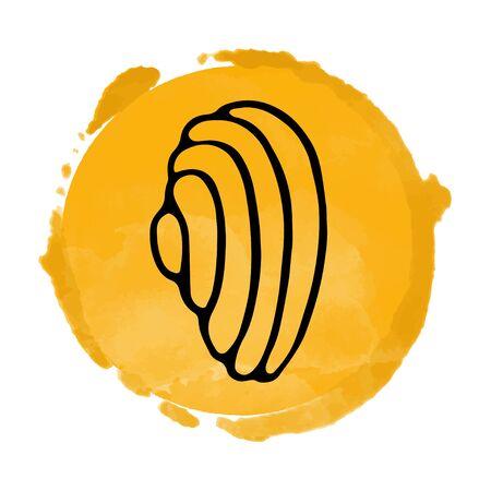 orange circle icon closeup isolated on white background, art