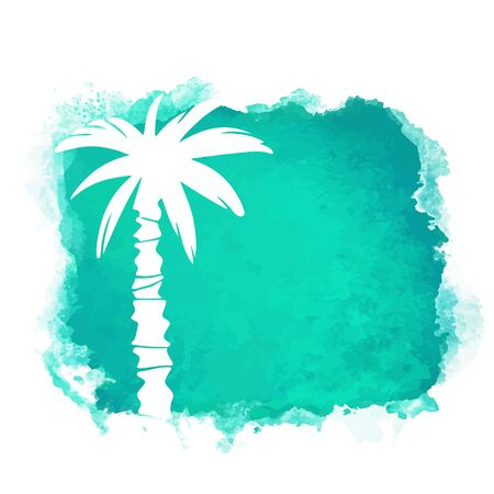 square paint stain and coconut palm tree closeup white silhouette. Nature icon isolated on white background. Abstract art. design