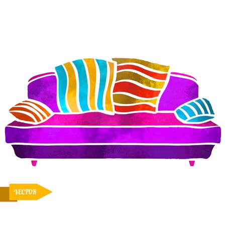 vector furniture, sofa with cushions closeup isolated on a white background