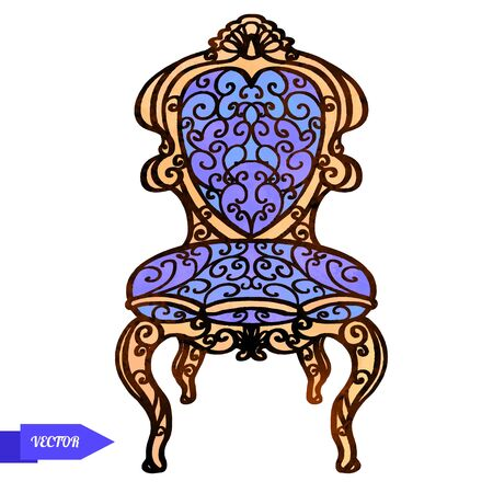 vector vintage carved wooden furniture, chair, armchair, throne closeup isolated on a white background.