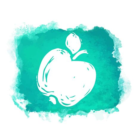 Watercolor green square paint stain with splash and fruit apple closeup white silhouette. Natural icon isolated on white background. Abstract art. Logo design Logos