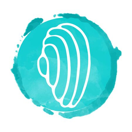 Watercolor blue circle paint stain and white sea shell icon closeup isolated on a white background, art logo design