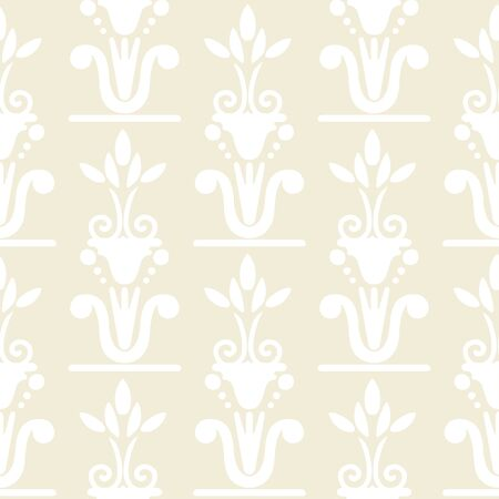 Seamless pattern egyptian floral white silhouettes. Tribal art light repeating background texture. Cloth design. Wallpaper