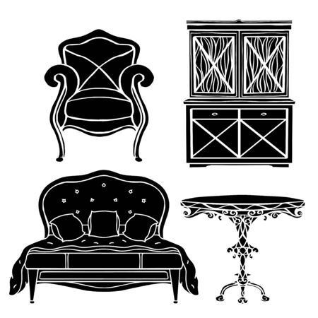 Vintage furniture set, armchair, bed, table, cupboard black silhouettes  isolated on a white background