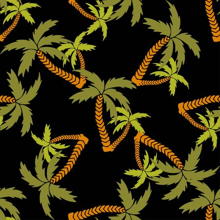 Seamless pattern with silhouettes tropical coconut palm trees. Rain forest. Summer repeating background. Natural print texture. Cloth design. Wallpaper, wrapping Stock Illustratie