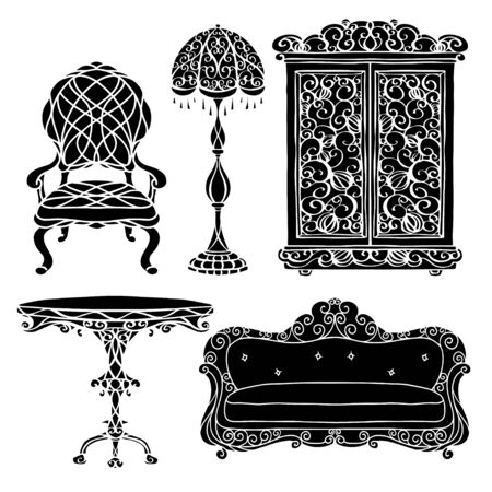 Furniture set, armchair, sofa, table, floor lamp, cupboard black silhouettes isolated on a white background Vettoriali