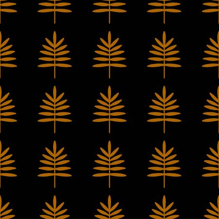 Seamless pattern with silhouettes palm leaves in black and gold. Natural repeating print texture. Cloth design. Wallpaper, wrapping