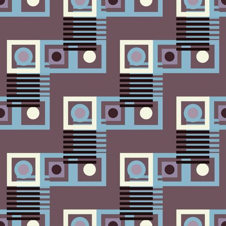 Abstract colorful geometric seamless pattern. Circles, squares, stripes, lines. Repeating background texture. Cloth design. Wallpaper, wrapping