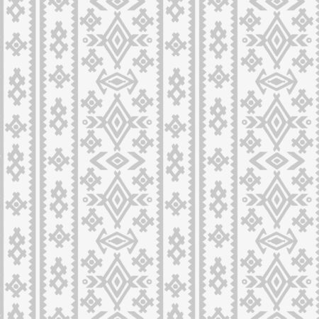 Aztec tribal art halftone seamless pattern in white and gray. Ethnic mexican print. Folk light border repeating background texture