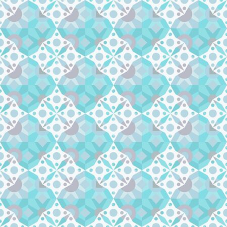 Abstract ethnic oriental seamless pattern. Mosaic blue geometric background. Repeating  texture. Cloth design, wrapping, wallpaper
