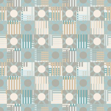 Abstract geometric mottled seamless pattern. Circles, squares, stripes, lines. Repeating background texture. Cloth design. Wallpaper, wrapping