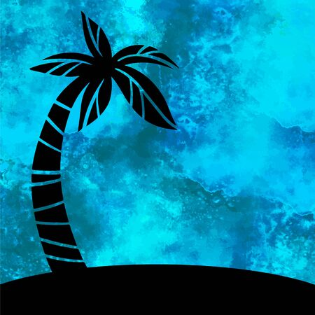 Watercolor sea, water, wave, blue background with splash and coconut palm tree, island closeup black silhouette isolated