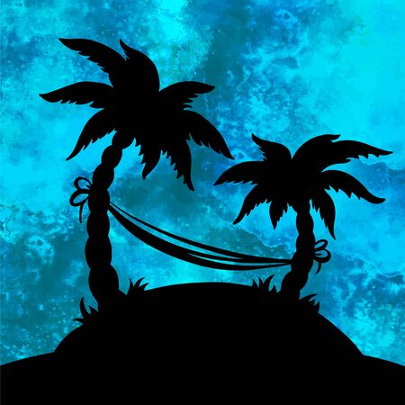 Watercolor sea, water, wave, blue background with splash and coconut palm trees, hammock, island closeup black silhouette isolated