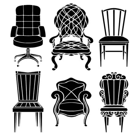 Vintage furniture set, chair, armchair, throne black silhouettes  isolated on a white background