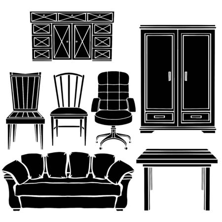 Furniture set, chair, armchair, sofa, table, cupboard black silhouettes  isolated on a white background