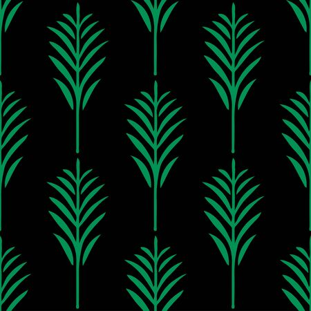 Seamless pattern with silhouettes palm leaves in black and green. Natural repeating print texture. Cloth design. Wallpaper, wrapping Stock Illustratie