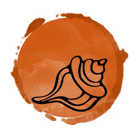Watercolor art circle logo icon isolated on white background, art logo design Illustration