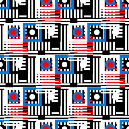 Abstract colorful geometric seamless pattern. Circles, squares, stripes, lines. Repeating background texture. Cloth design. Wallpaper, wrapping Archivio Fotografico - 150740623