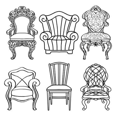 Vintage furniture set, chair, armchair, throne closeup, black lines, isolated on a white background Illustration