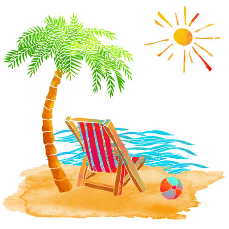 Watercolor summer beach set. Waves, sea, palm tree, sun, ball, deck chair, sand isolated on white background