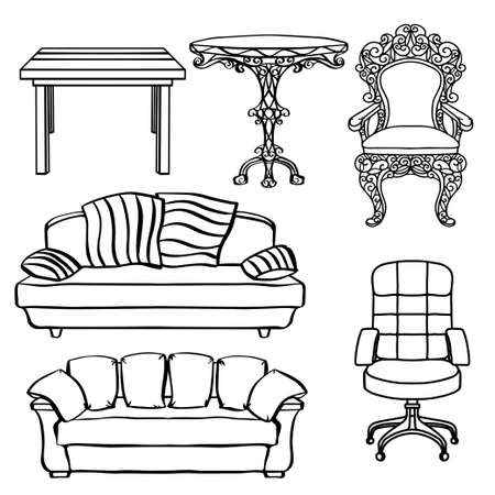 Furniture set, armchair, sofa, table, chair, throne closeup, black lines, isolated on a white background Illustration