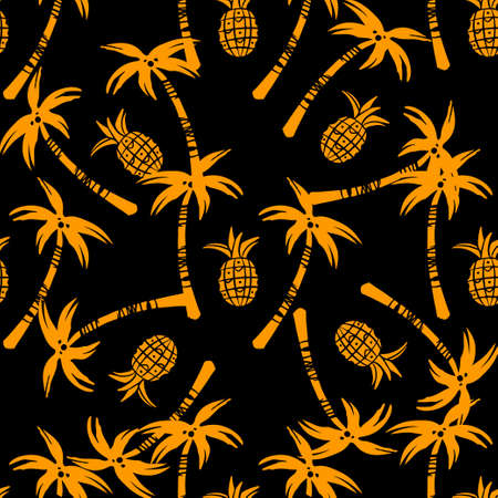 Seamless pattern with silhouettes tropical coconut palm trees, fruits pineapples in black and gold. Rain forest. Summer repeating background. Natural print texture. Cloth design. Wallpaper, wrapping