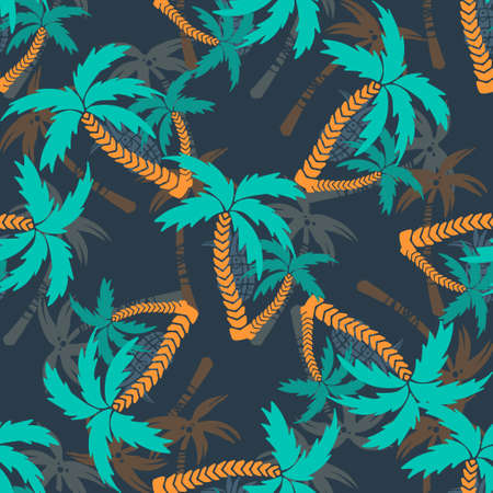 Seamless pattern with silhouettes tropical coconut palm trees. Repeating background texture. Cloth design. Wallpaper, wrapping