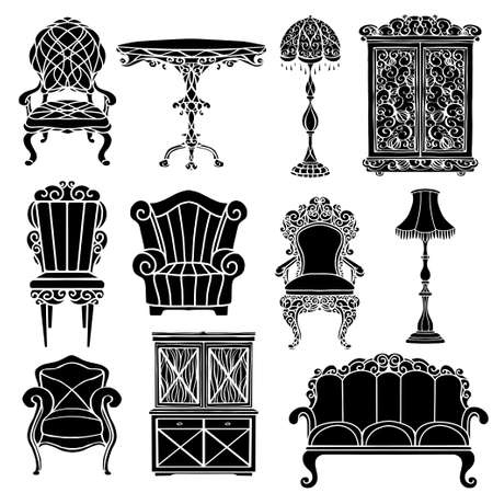 Vintage furniture set, armchair, sofa, table, floor lamp, cupboard black silhouettes  isolated on a white background