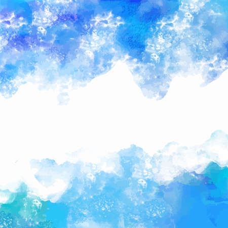 Watercolor blue background texture. Sea, waves. Frame, borders. Art abstract Ilustração