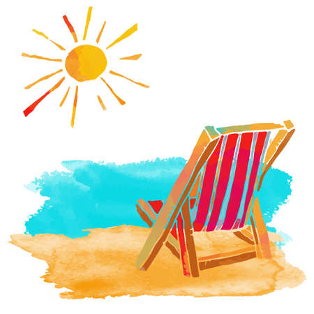 Watercolor summer beach set. Sea, sun, deck chair, sand isolated on white background