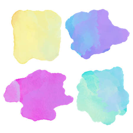 Watercolor set colorful paint stains isolated on a white background. Art abstract. Frames