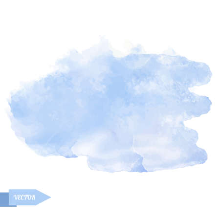 Watercolor blue paint stain isolated on a white background. Art abstract. Frame