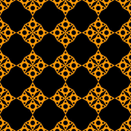 Abstract geometric mosaic seamless pattern in black and gold. Repeating background texture. Cloth design. Wallpaper, wrapping