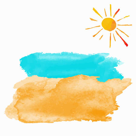 Watercolor summer beach set. Sea, sun, sand isolated on white background