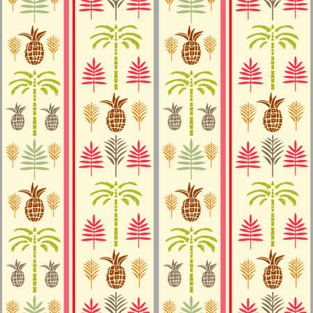 Seamless borders pattern with silhouettes tropical coconut palm trees, fruits pineapples, leaves. Summer repeating background. Natural print texture. Cloth design. Wallpaper, wrapping Vecteurs