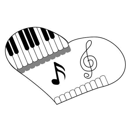music heart, love music, line heart