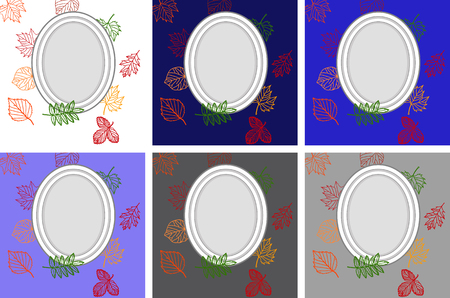 autumn leaves, frame for text against the background of autumn leaves, set of frames on backgrounds of different colors