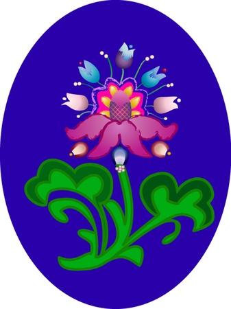 exotic flower: Exotic flower on  oval dark blue background Illustration