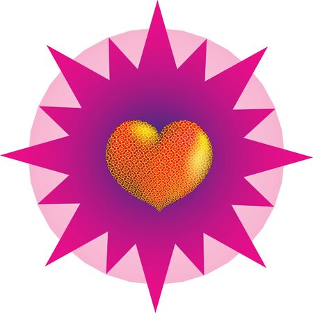 Heart, seamless  against a multibeam star Иллюстрация