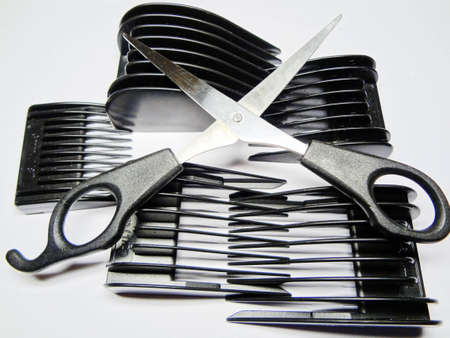 accessories of hairdresser in an assortment on a white background photo