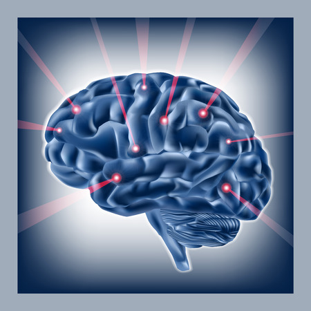 cerebral cortex: Brain and beams on blue background.