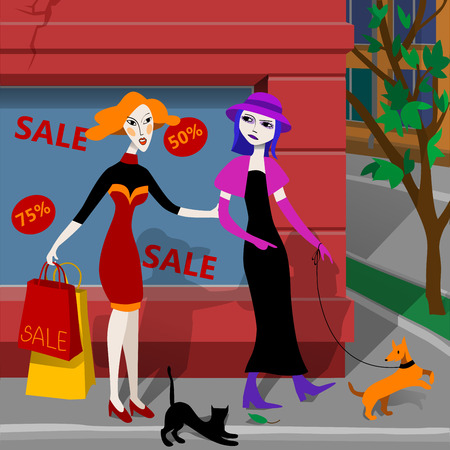 two girls: Two girls making purchases. Illustration