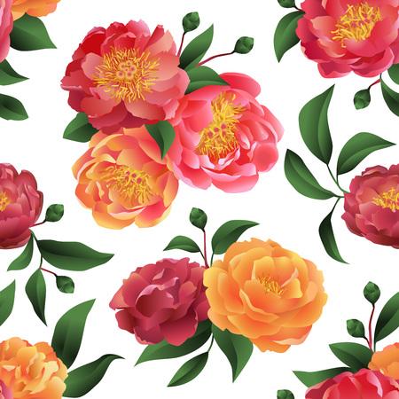 eleganz: Seamless Pfingstrosen ornamentale Muster. Illustration