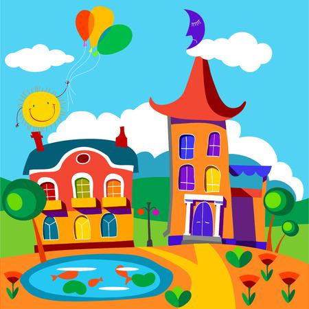 Fairy houses. Vector illustration. Vector