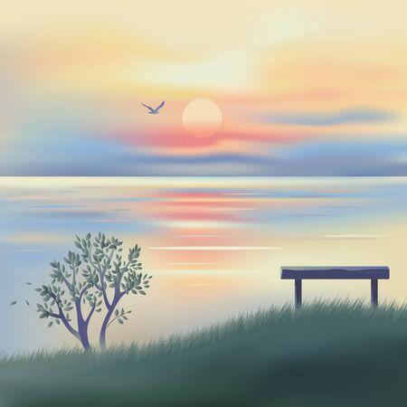 Sunset over sea. Marine seascape. Illustration