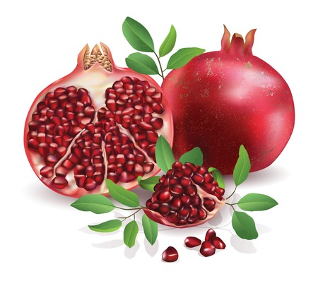 Pomegranate isolated on white background.